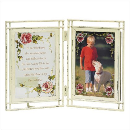 Glass Victorian Rose Mom Photo Frame/Candleholder