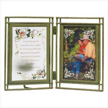 Glass Magnolia Photo Frame/Candleholder