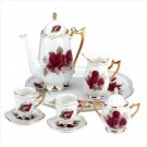 10 Piece Ceramic Roses Tea Set