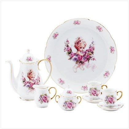 10 Piece Porcelain Cherub Tea Set
