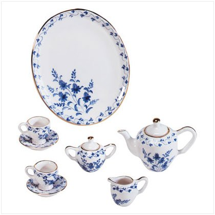 10 Piece Blue &  White Ceramic Floral Tea Set