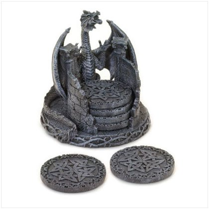Dragon Coaster Set With Holder