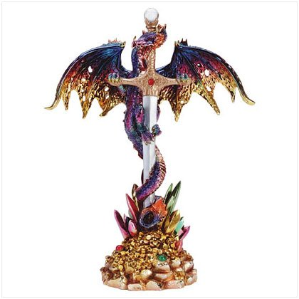 Multicolored Metallic Dragon & Sword Figurine