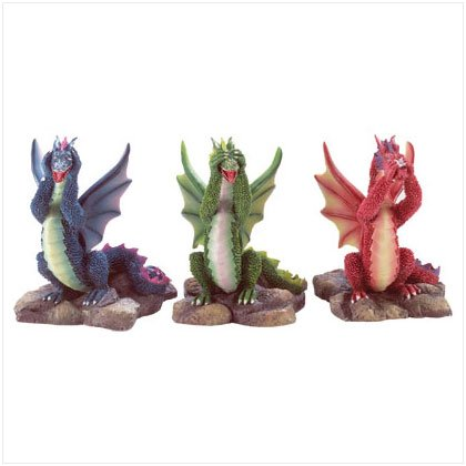 See, Hear, Speak No Evil Dragon Figurine