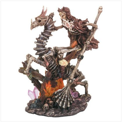 Skeleton Merlin On Dragon Figurine