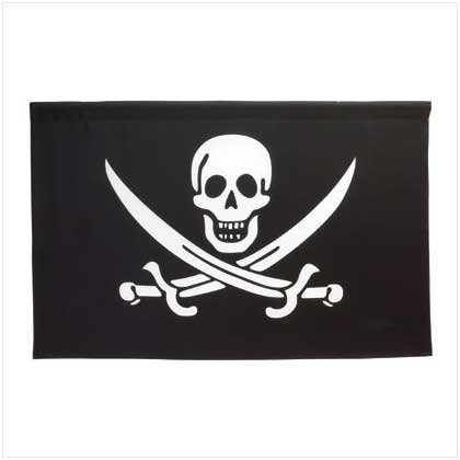 Jolly Rodger Black White Flag Wall Banner