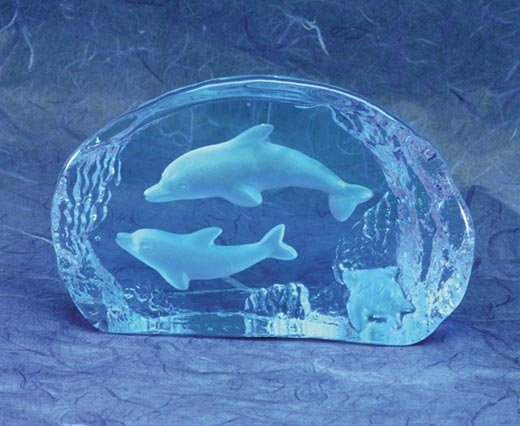 Blue Glass Carved Dolphin Paperweight