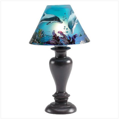 Painted Glass Shade Dolphin Candle Lamp