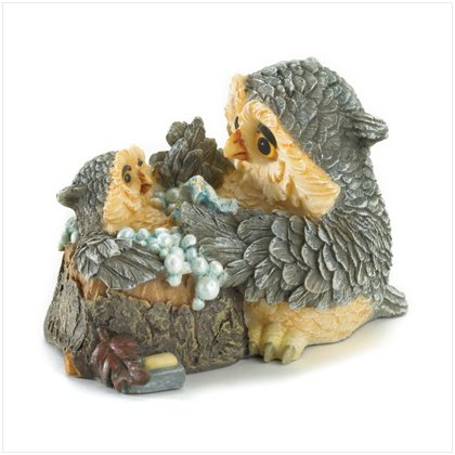 Mother & Baby Owl Bathtime Figurine
