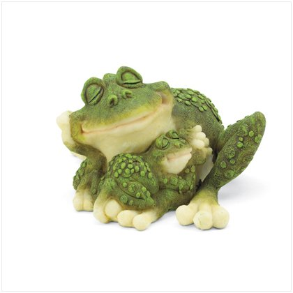 Mother & Baby Frog Cuddling Figurine