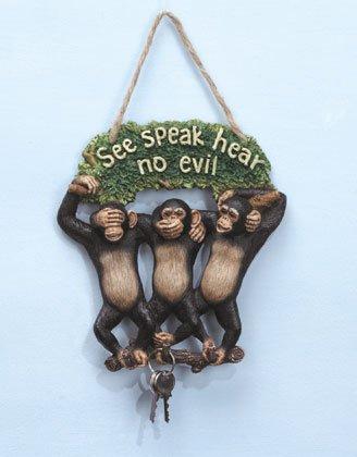 See, Hear, Speak No Evil Monkey Keyholder