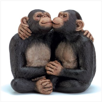 Kissing Monkey Couple Figurine