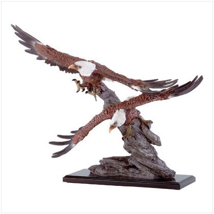 Soaring Eagles Over Rocks Figurine