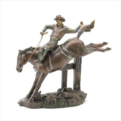 Cowboy Riding Bronco Figurine