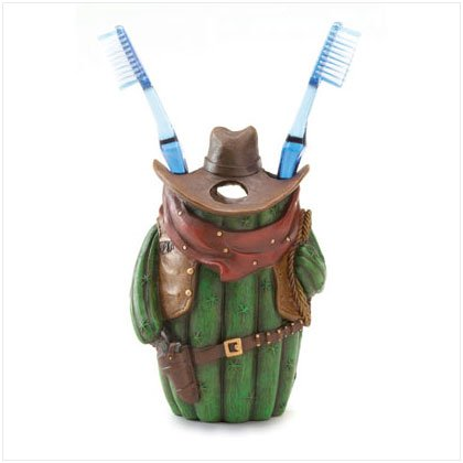 Cowboy Cactus Toothbrush Holder