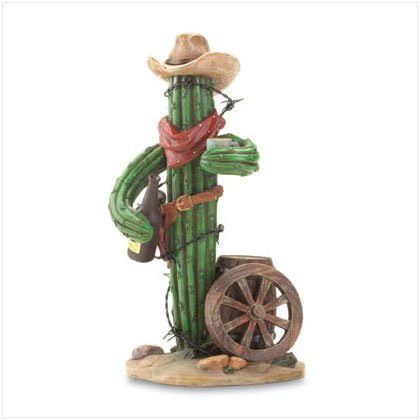 Thirsty Cowboy Cactus Figurine
