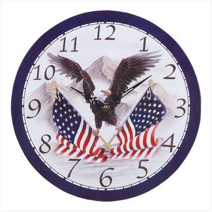Soaring Eagle and Flag Wall Clock