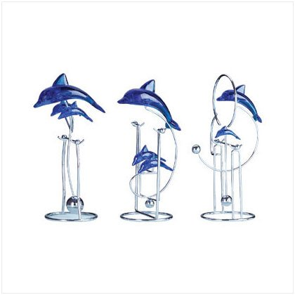 Set of 3 Swinging Dolphin Sculptures