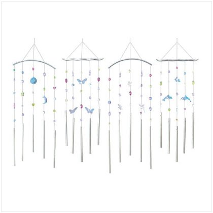 4 Pack Of Themed Acrylic Windchimes
