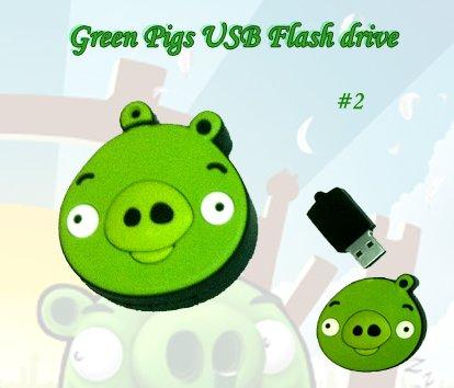 Green pig #2 USB Flash Drive