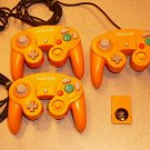 3 GAMECUBE ORANGE CONTROLLER OFFICIAL NINTENDO WII MEM