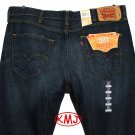 LEVI'S 501 CLASSIC BUTTON-FLY TOTTORI DESTRUCTED DARK BLUE DENIM JEANS in size W38 L32