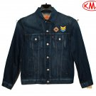 Brand New LEVI'S TRUCKER JACKET COLORBLOCK WITH PATCHES MEDIUM BLUE DENIM JACKET - in size L (Large)