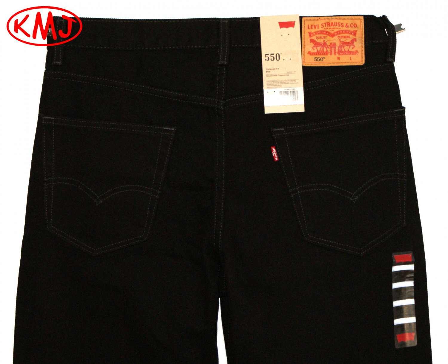 Brand New LEVI'S 550 RELAXED FIT CLASSIC BLACK DENIM JEANS in size W32 W36