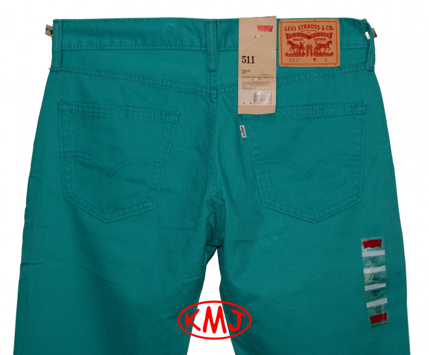 LEVI'S 511 SLIM FIT LAKE BLUE TURQUOISE COTTON TWILL PANTS in size W32 L32 (Actual size 32 31)