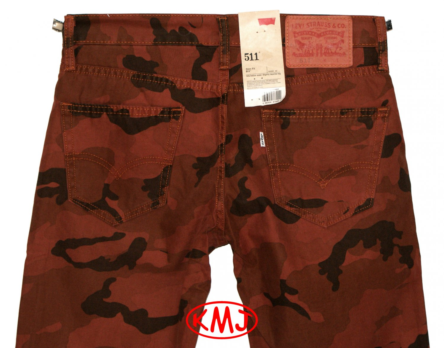 Brand New LEVI'S 511 SLIM FIT CAMO CAMOUFLAGE OVERDYE PICA RUST TWILL PANTS in size W29 L32