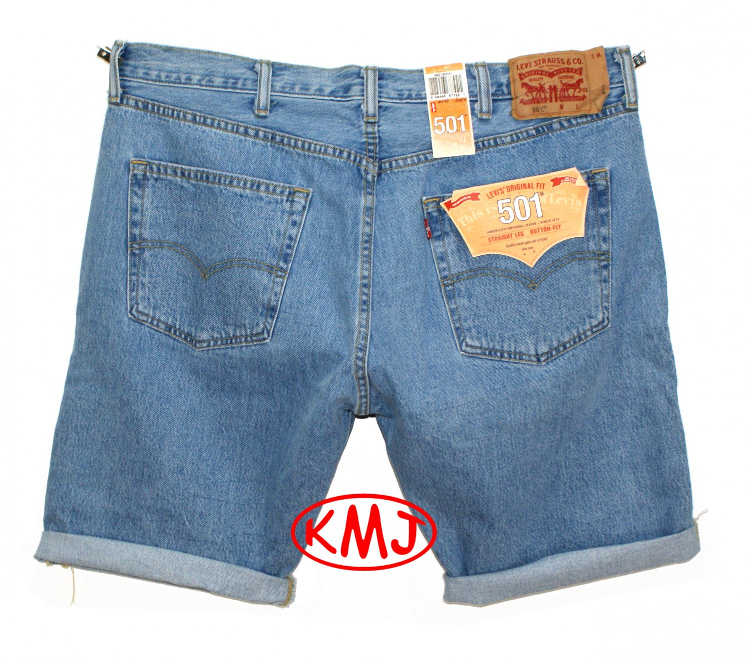 Brand New LEVI'S CLASSIC 501 BUTTON-FLY PADRE CUTOFF MEDIUM STONEWASH BLUE DENIM SHORTS in size W40