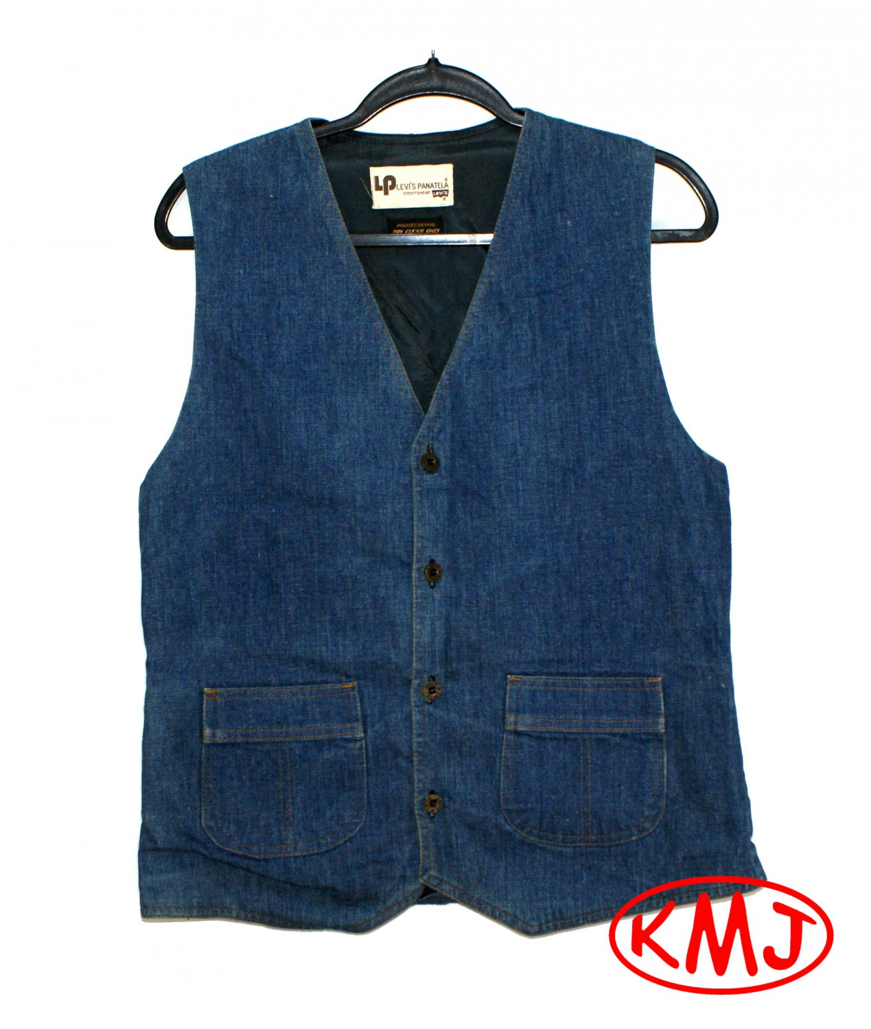LEVI'S VINTAGE 1970s PANATELA SPORTSWEAR MEDIUM BLUE DENIM LINED VEST in size M (Medium) MADE IN USA