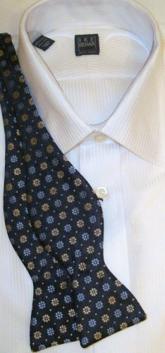 Bow Tie Blue/Gold Flowers Freestyle Silk - Free Worldwide Ship!