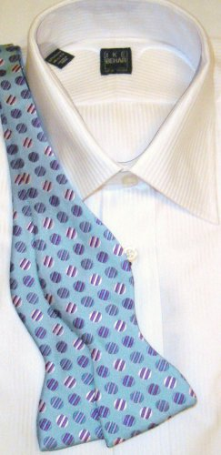 Bow Tie Turquoise Circles Freestyle Silk - Free Worldwide Ship!