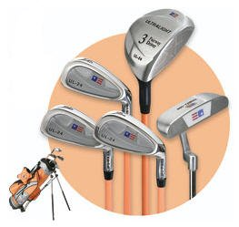 US KIDS GOLF - ULTRALITE TANGERINE 5 CLUB SET W/ BAG