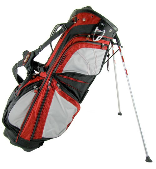 BAG BOY GOLF- NEW CLIP-LOK STAND BAG - BLACK/RED/GRAY