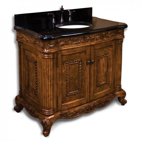 burled ornate bathroom vanity