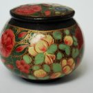 Decorative small size hand-painted Kashmir Indian Lacquered Paper Mache Trinket Box design 2
