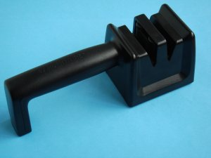 Two Stage Farberware Knife Sharpener with easy hold handle black