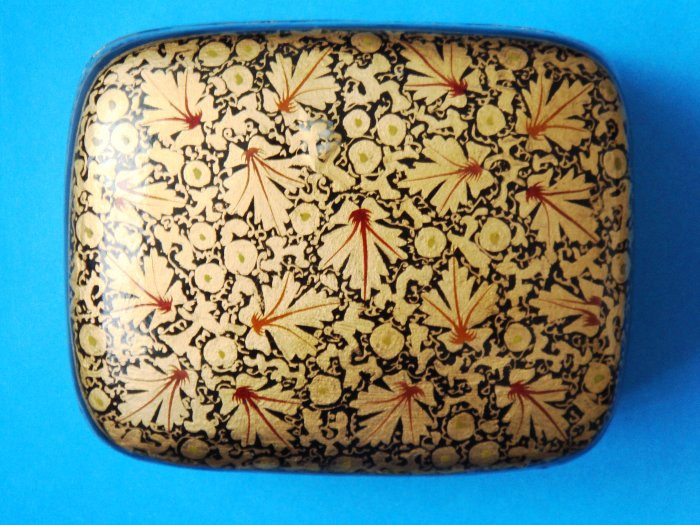 Hand-painted Kashmir Indian Lacquered Paper Mache Trinket Box decorative large rectangular
