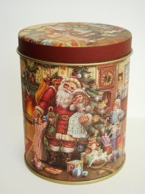 Christmas Santa Clause themed decorative tin box metal with pull apart lid