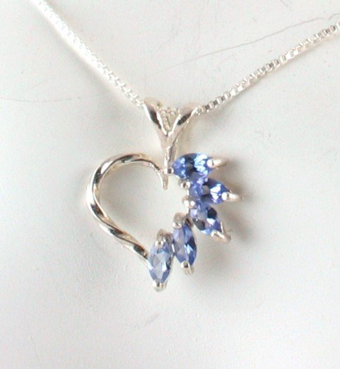 Genuine Five Stone TANZANITE Sterling Silver Heart PENDANT & Chain