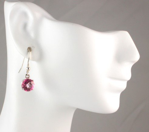 Sterling Silver French Wire 4.30ctw PINK TOPAZ Dangle EARRINGS