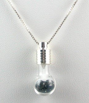 Genuine BLUE SAPPHIRE 3ctw Handcrafted Glass Bulb PENDANT