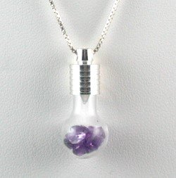 Genuine AMETHYST 3ctw Handcrafted Glass Bulb PENDANT