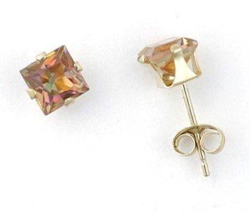 Genuine MYSTIC AZOTIC TOPAZ 10k Yellow Gold Stud EARRINGS