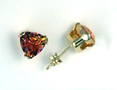 Genuine 3ctw MYSTIC AZOTIC TOPAZ 10k Yellow Gold Stud EARRINGS