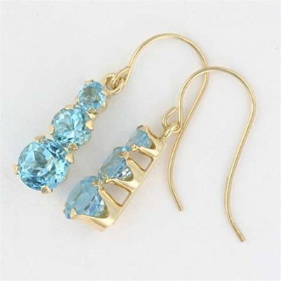 Genuine BLUE TOPAZ 10k Yellow Gold 3 Stone EARRINGS