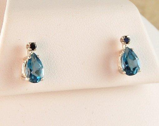 Genuine Swiss Blue TOPAZ & Black DIAMOND EARRINGS