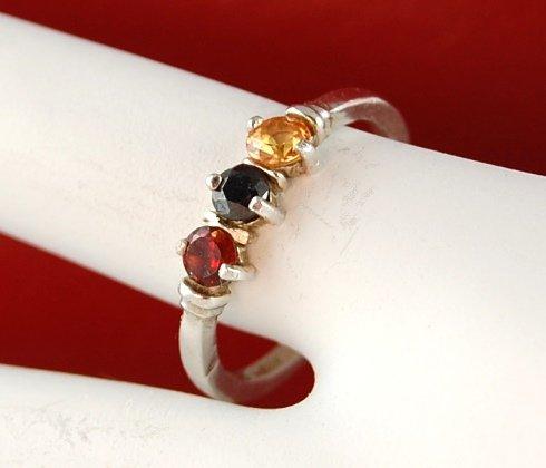 Genuine Orange SAPPHIRE, Black DIAMOND and Red Spessartite GARNET Sterling Silver RING